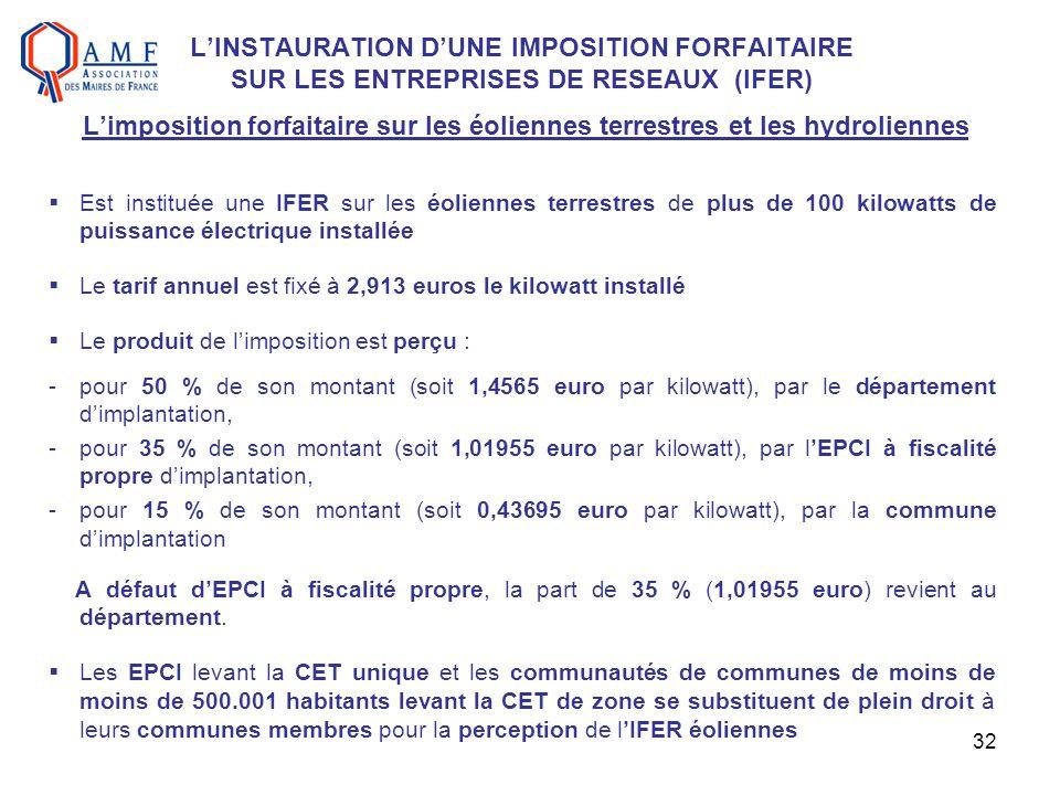 32 LINSTAURATION DUNE IMPOSITION FORFAITAIRE SUR LES ENTREPRISES DE RESEAUX (IFER) Limposition forfaitaire sur les éoliennes terrestres et les hydroli