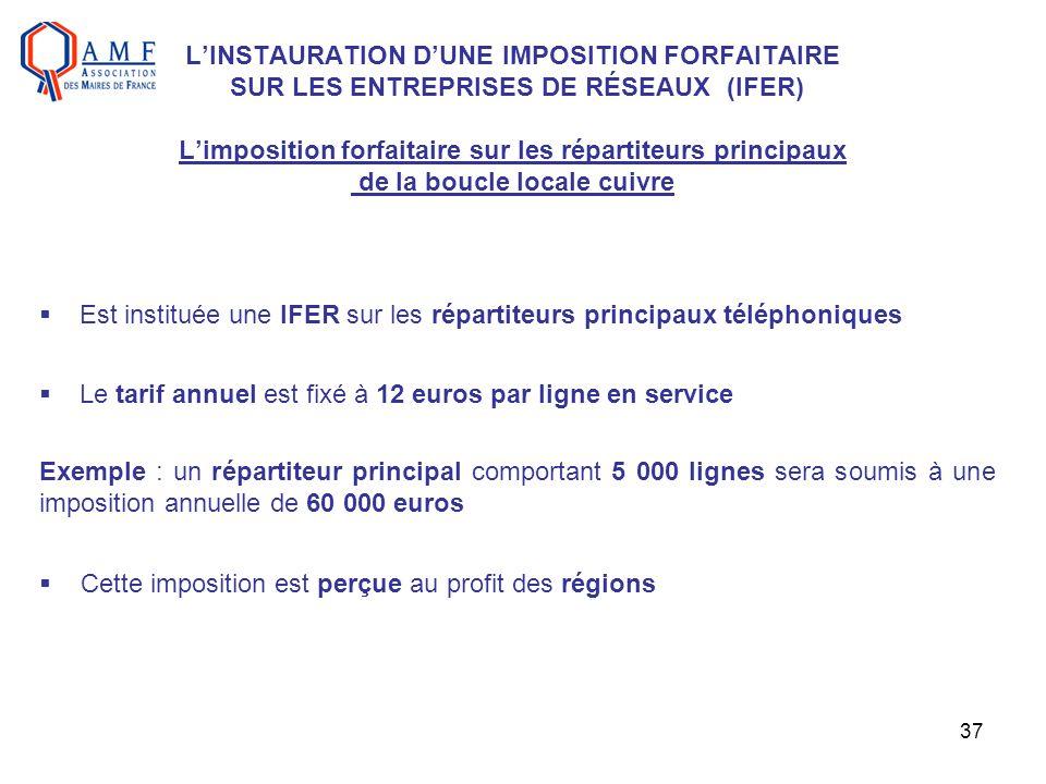 37 LINSTAURATION DUNE IMPOSITION FORFAITAIRE SUR LES ENTREPRISES DE RÉSEAUX (IFER) Limposition forfaitaire sur les répartiteurs principaux de la boucl