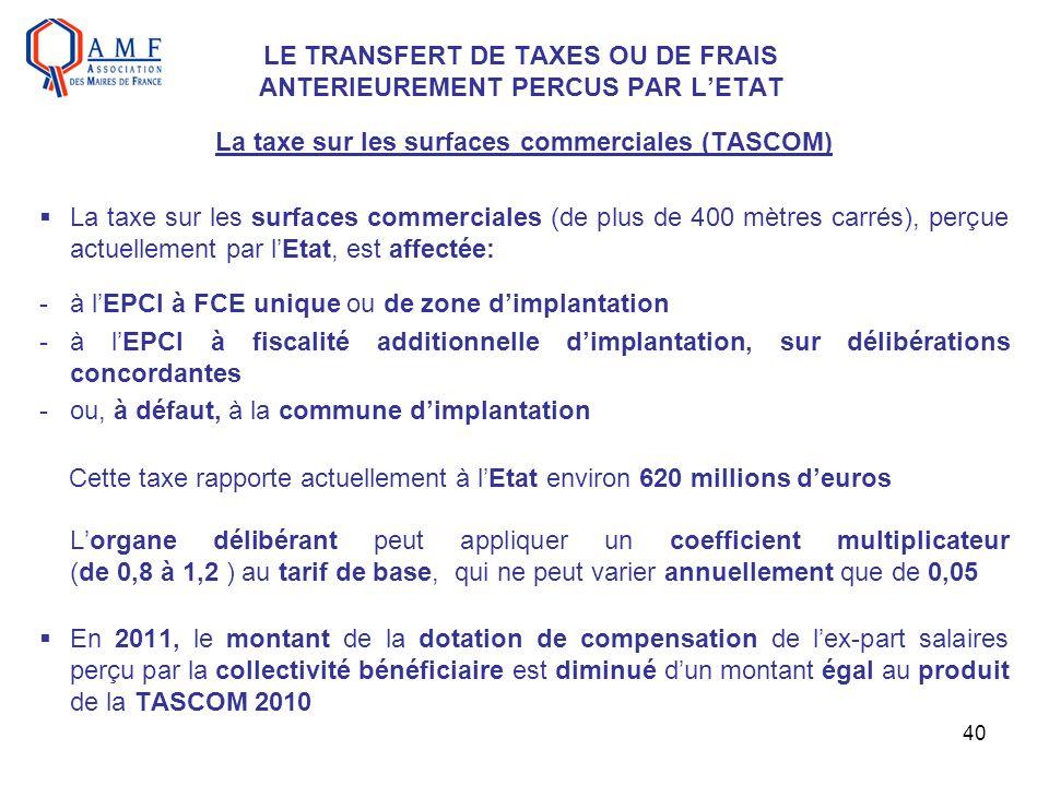 40 LE TRANSFERT DE TAXES OU DE FRAIS ANTERIEUREMENT PERCUS PAR LETAT La taxe sur les surfaces commerciales (TASCOM) La taxe sur les surfaces commercia