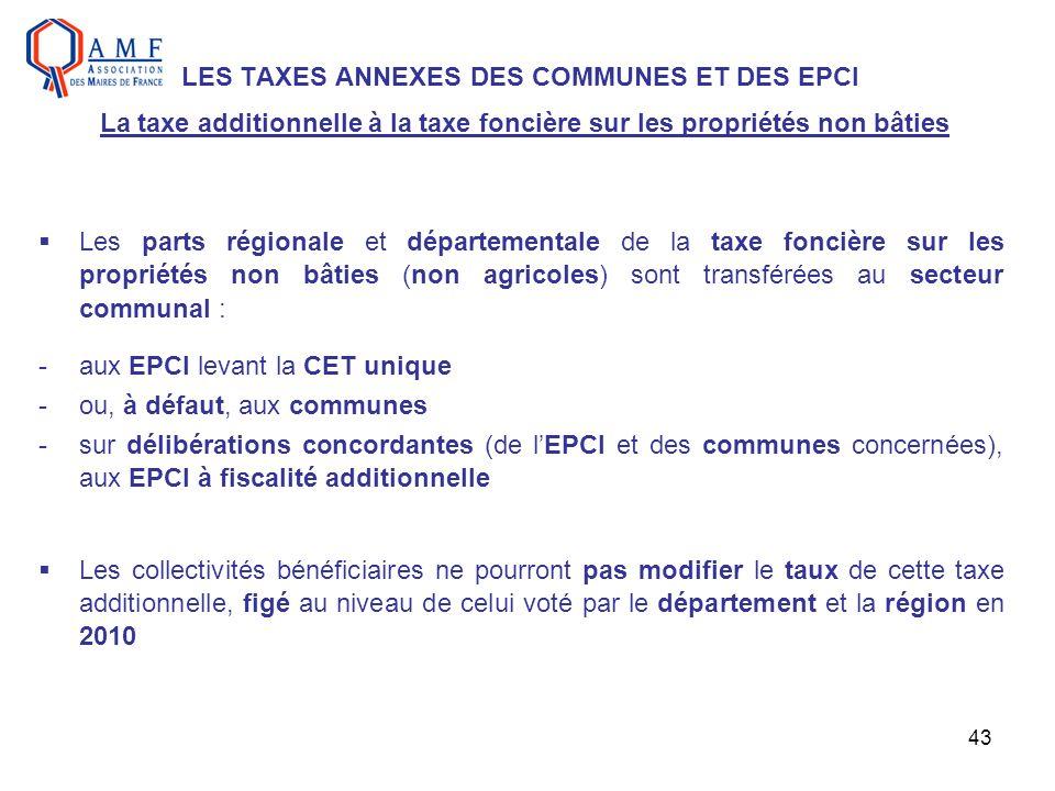 43 LES TAXES ANNEXES DES COMMUNES ET DES EPCI La taxe additionnelle à la taxe foncière sur les propriétés non bâties Les parts régionale et départemen