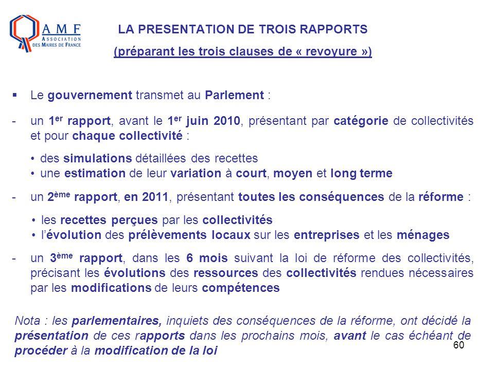 60 LA PRESENTATION DE TROIS RAPPORTS (préparant les trois clauses de « revoyure ») Le gouvernement transmet au Parlement : -un 1 er rapport, avant le