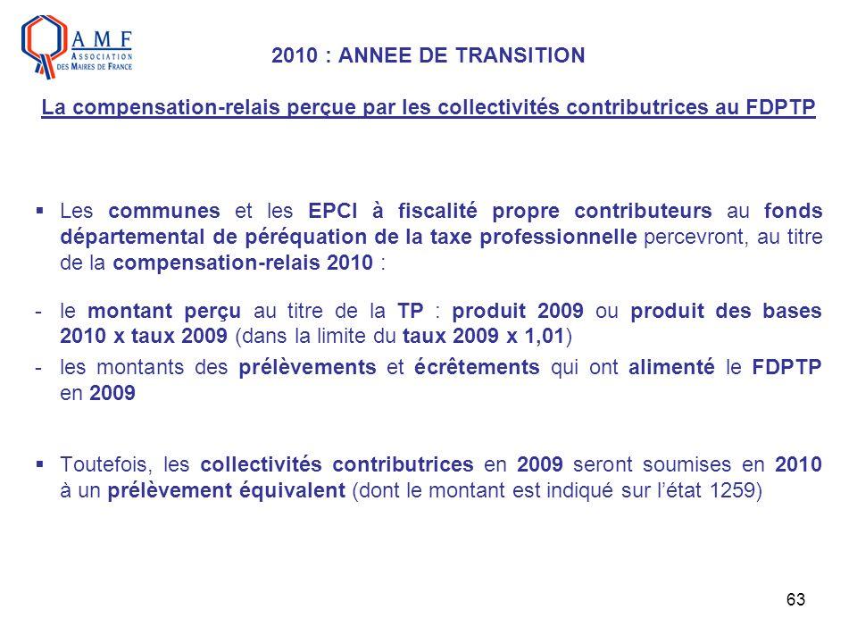 63 2010 : ANNEE DE TRANSITION La compensation-relais perçue par les collectivités contributrices au FDPTP Les communes et les EPCI à fiscalité propre