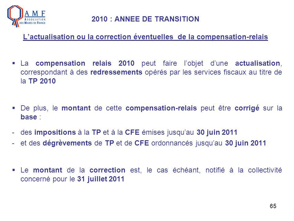 65 2010 : ANNEE DE TRANSITION Lactualisation ou la correction éventuelles de la compensation-relais La compensation relais 2010 peut faire lobjet dune