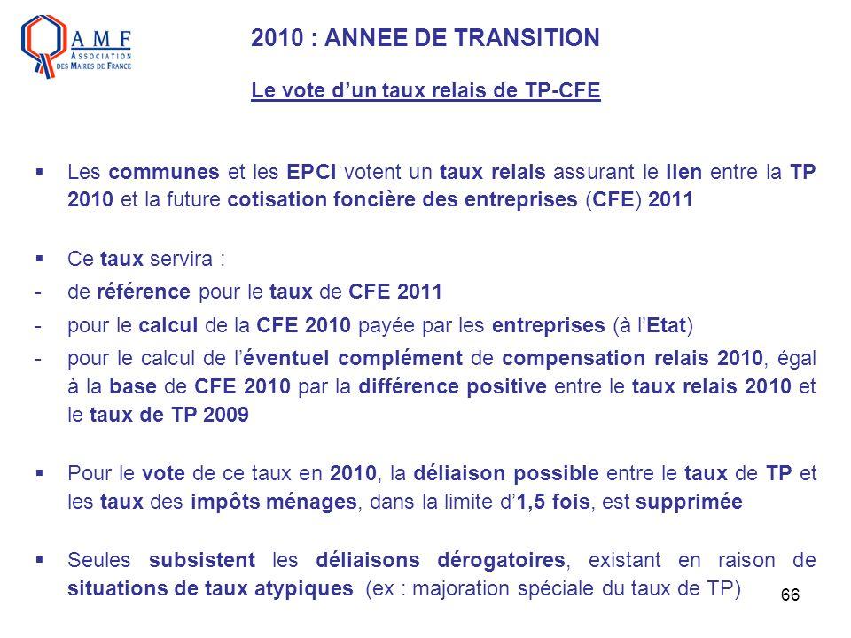 66 2010 : ANNEE DE TRANSITION Le vote dun taux relais de TP-CFE Les communes et les EPCI votent un taux relais assurant le lien entre la TP 2010 et la