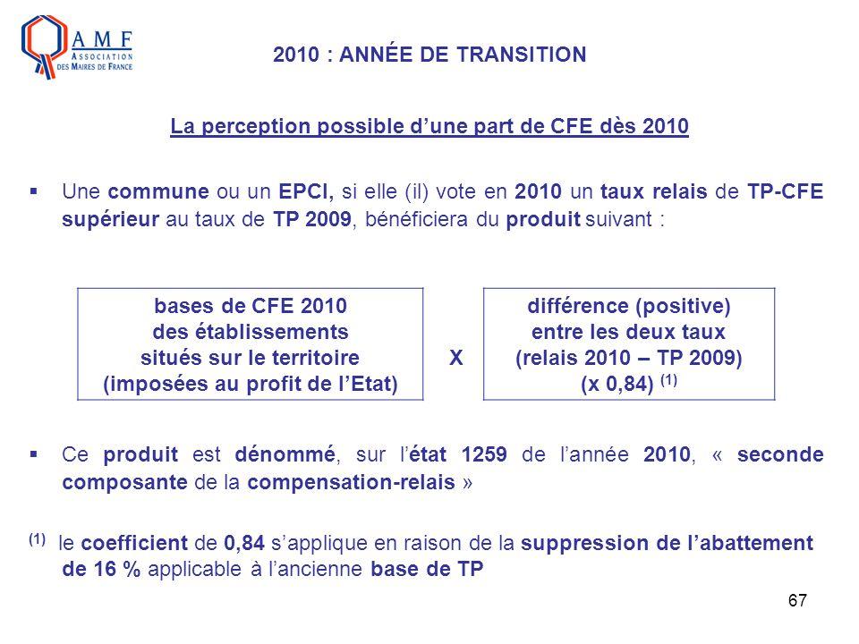 67 La perception possible dune part de CFE dès 2010 Une commune ou un EPCI, si elle (il) vote en 2010 un taux relais de TP-CFE supérieur au taux de TP