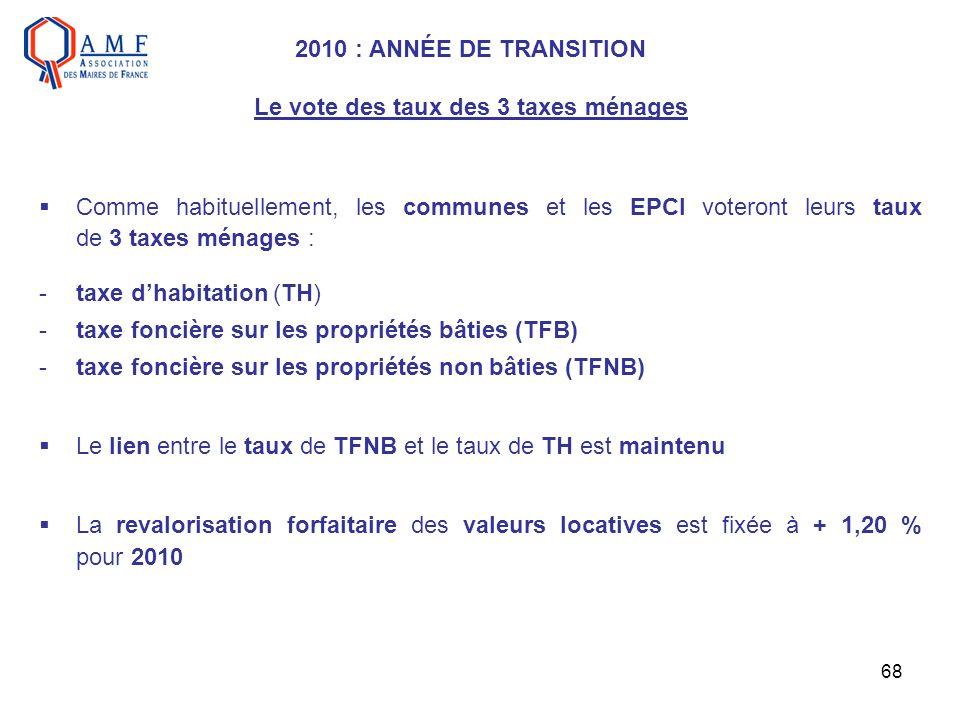 68 2010 : ANNÉE DE TRANSITION Le vote des taux des 3 taxes ménages Comme habituellement, les communes et les EPCI voteront leurs taux de 3 taxes ménag
