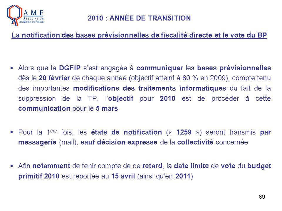 69 Alors que la DGFIP sest engagée à communiquer les bases prévisionnelles dès le 20 février de chaque année (objectif atteint à 80 % en 2009), compte