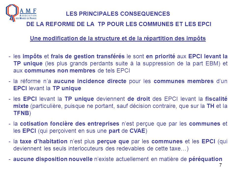 7 LES PRINCIPALES CONSEQUENCES DE LA REFORME DE LA TP POUR LES COMMUNES ET LES EPCI Une modification de la structure et de la répartition des impôts -