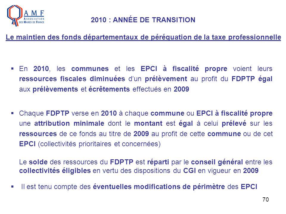 70 En 2010, les communes et les EPCI à fiscalité propre voient leurs ressources fiscales diminuées dun prélèvement au profit du FDPTP égal aux prélève