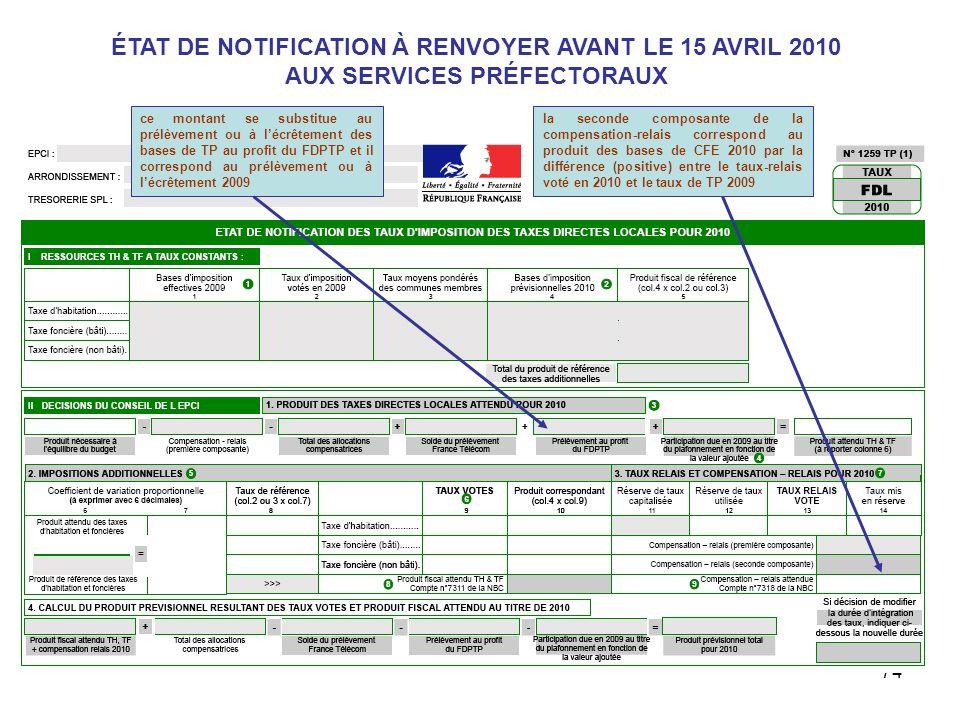 74 ÉTAT DE NOTIFICATION À RENVOYER AVANT LE 15 AVRIL 2010 AUX SERVICES PRÉFECTORAUX ce montant se substitue au prélèvement ou à lécrêtement des bases