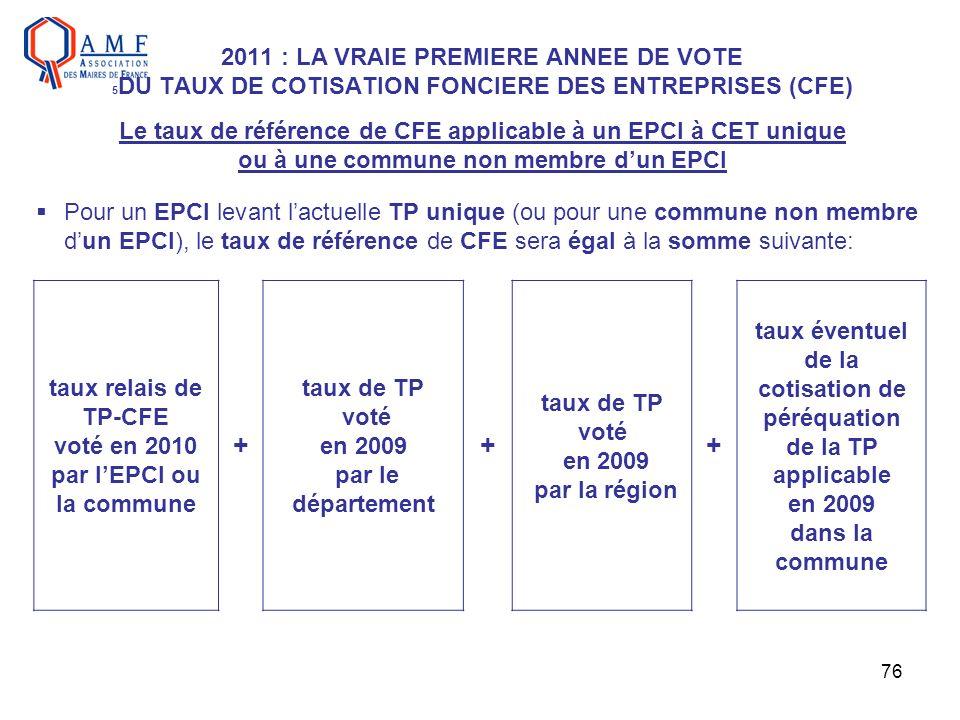 76 2011 : LA VRAIE PREMIERE ANNEE DE VOTE 5 DU TAUX DE COTISATION FONCIERE DES ENTREPRISES (CFE) Le taux de référence de CFE applicable à un EPCI à CE