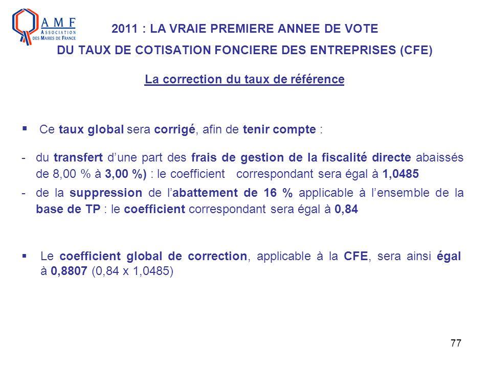 77 2011 : LA VRAIE PREMIERE ANNEE DE VOTE DU TAUX DE COTISATION FONCIERE DES ENTREPRISES (CFE) La correction du taux de référence Ce taux global sera