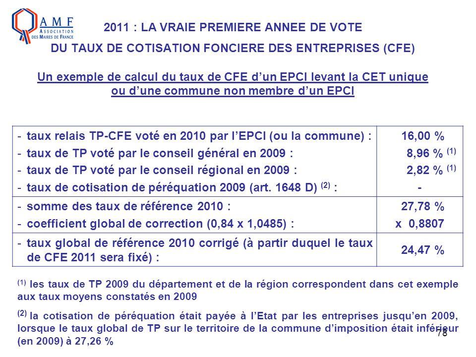78 2011 : LA VRAIE PREMIERE ANNEE DE VOTE DU TAUX DE COTISATION FONCIERE DES ENTREPRISES (CFE) Un exemple de calcul du taux de CFE dun EPCI levant la