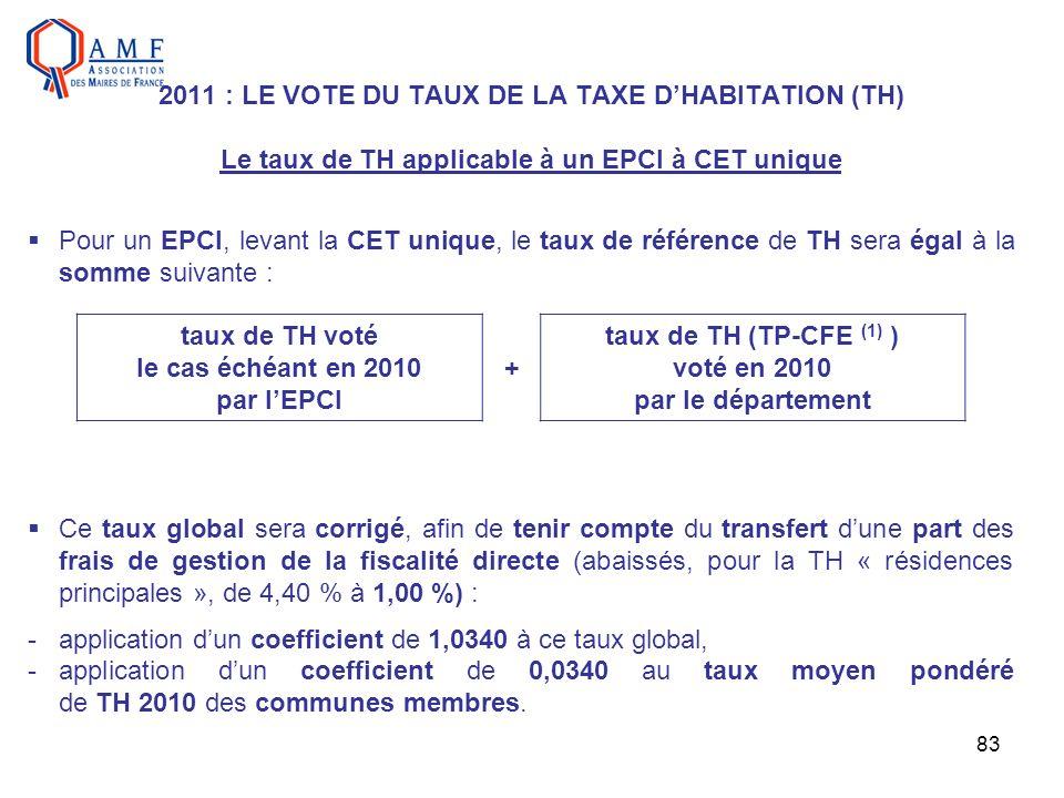 83 2011 : LE VOTE DU TAUX DE LA TAXE DHABITATION (TH) Le taux de TH applicable à un EPCI à CET unique Pour un EPCI, levant la CET unique, le taux de r
