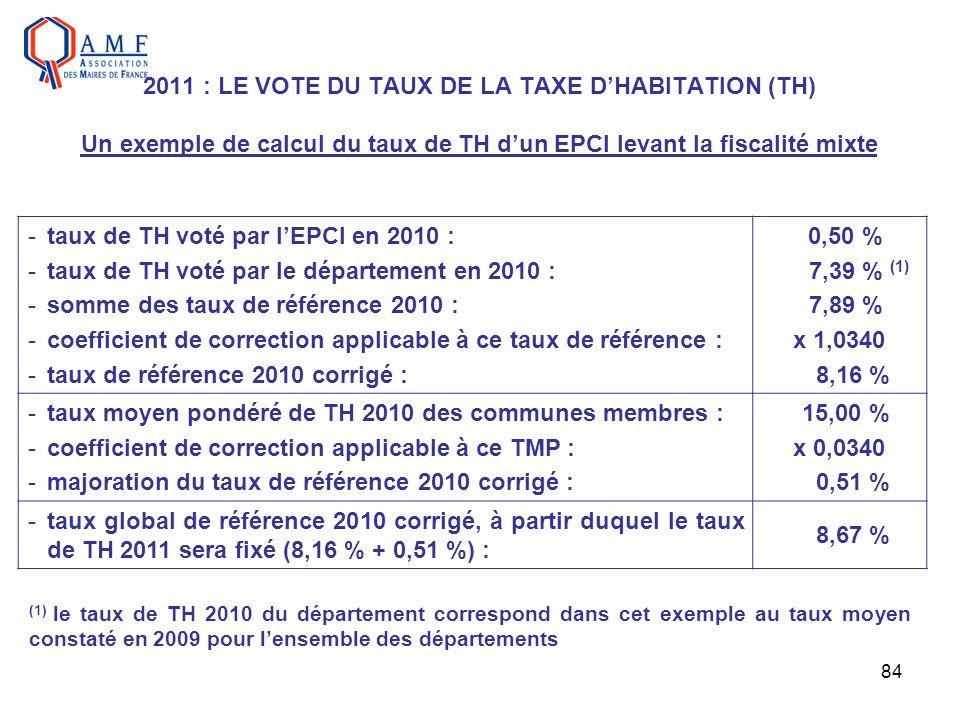 84 2011 : LE VOTE DU TAUX DE LA TAXE DHABITATION (TH) Un exemple de calcul du taux de TH dun EPCI levant la fiscalité mixte -taux de TH voté par lEPCI