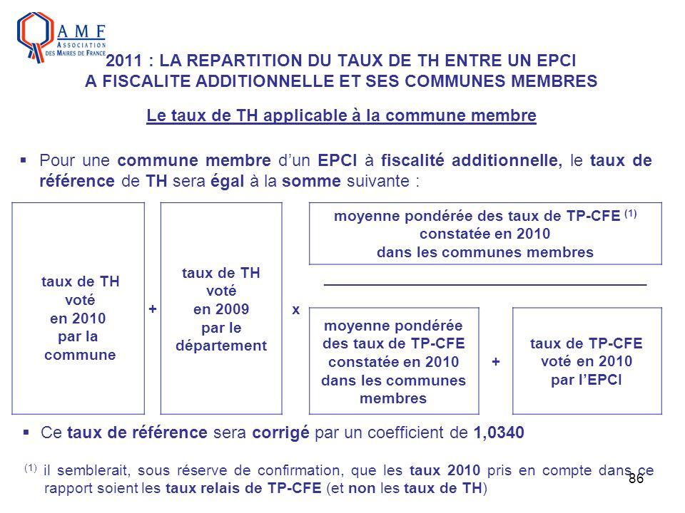 86 2011 : LA REPARTITION DU TAUX DE TH ENTRE UN EPCI A FISCALITE ADDITIONNELLE ET SES COMMUNES MEMBRES Le taux de TH applicable à la commune membre Po