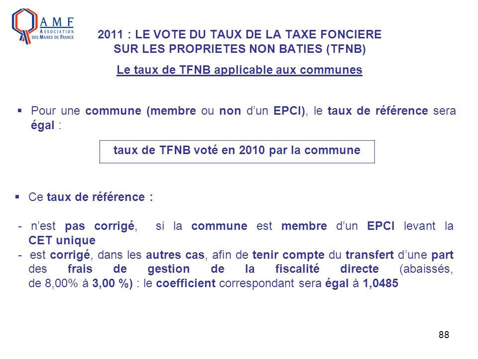 88 2011 : LE VOTE DU TAUX DE LA TAXE FONCIERE SUR LES PROPRIETES NON BATIES (TFNB) Le taux de TFNB applicable aux communes Pour une commune (membre ou