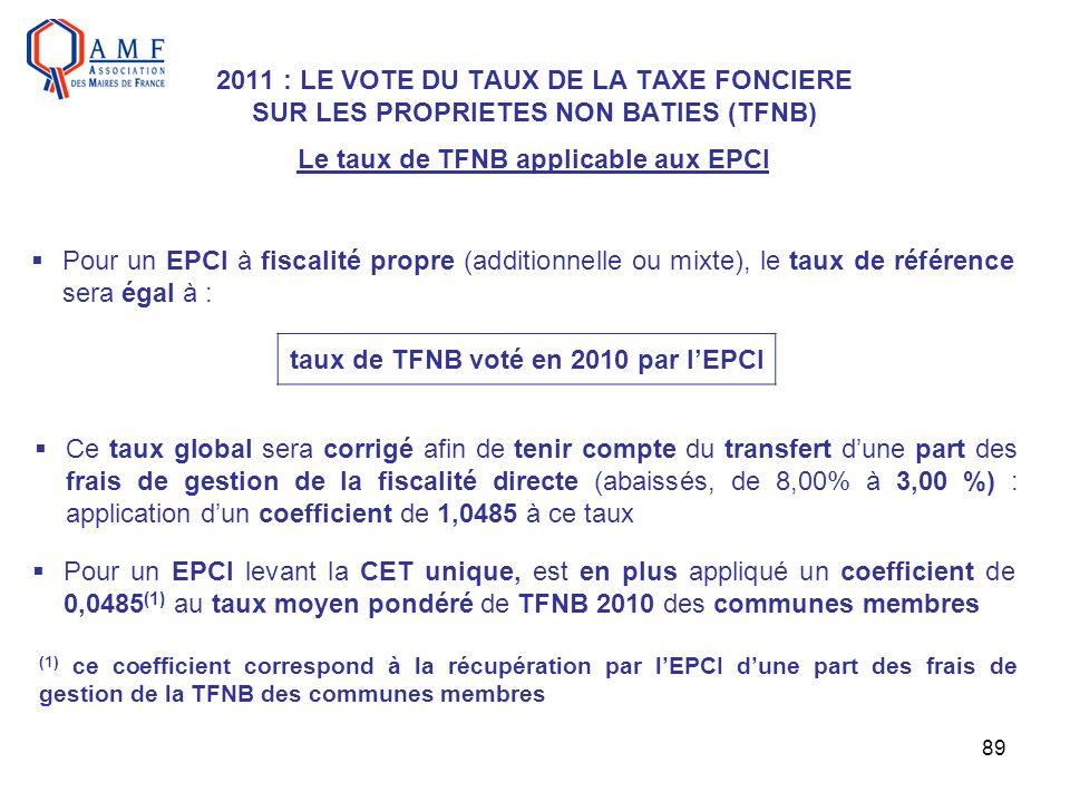 89 2011 : LE VOTE DU TAUX DE LA TAXE FONCIERE SUR LES PROPRIETES NON BATIES (TFNB) Le taux de TFNB applicable aux EPCI Pour un EPCI à fiscalité propre