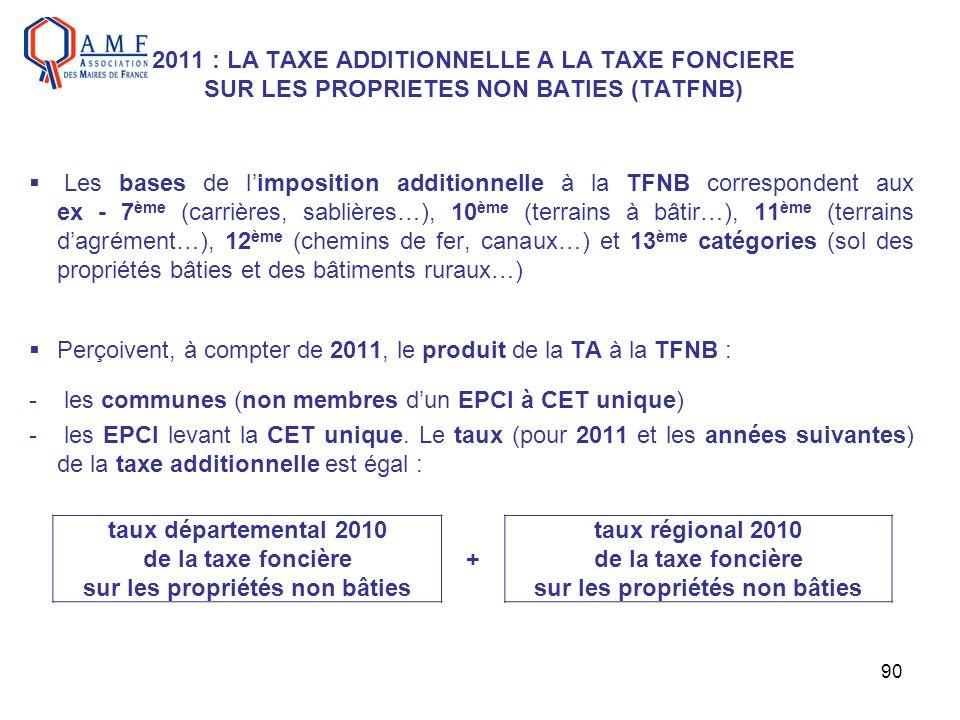 90 2011 : LA TAXE ADDITIONNELLE A LA TAXE FONCIERE SUR LES PROPRIETES NON BATIES (TATFNB) Les bases de limposition additionnelle à la TFNB corresponde