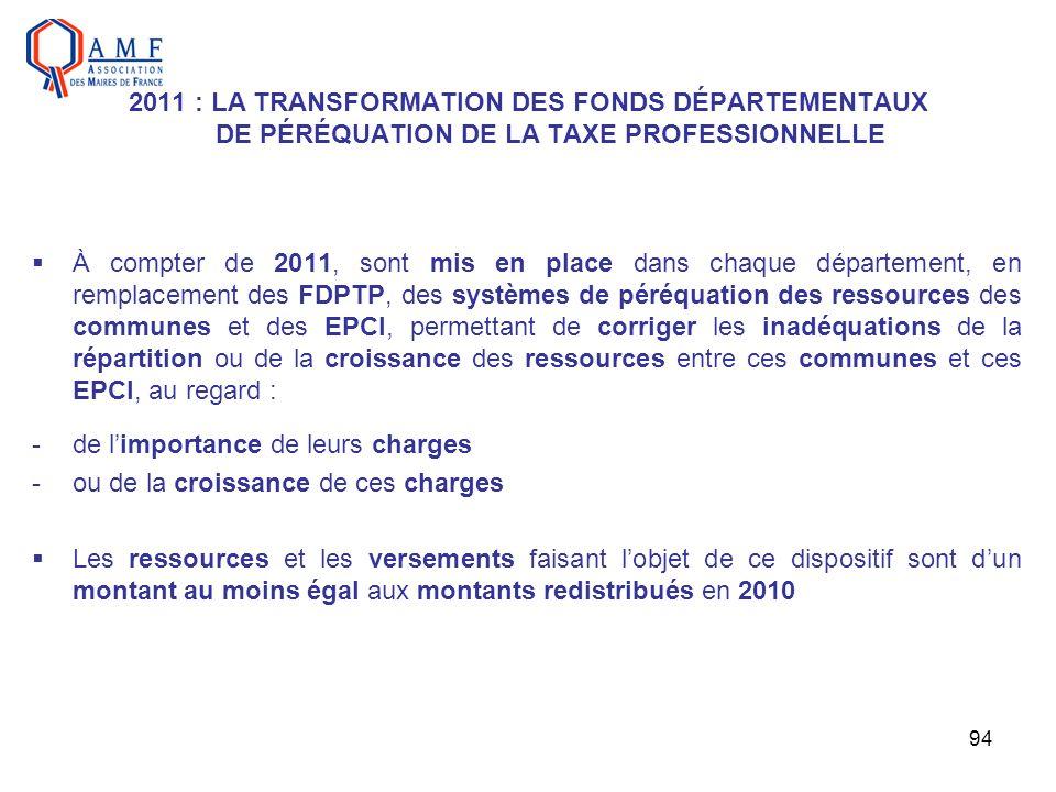 94 2011 : LA TRANSFORMATION DES FONDS DÉPARTEMENTAUX DE PÉRÉQUATION DE LA TAXE PROFESSIONNELLE À compter de 2011, sont mis en place dans chaque départ