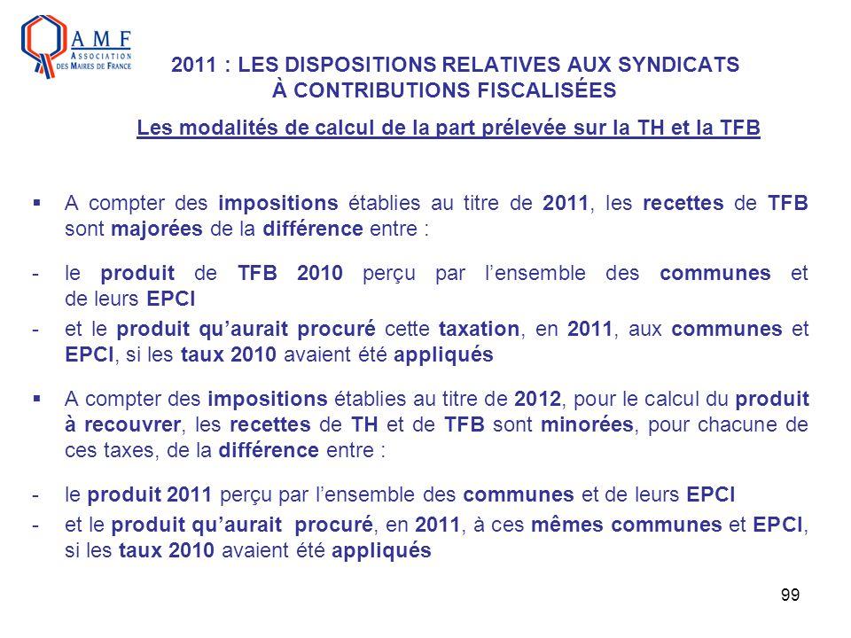 99 2011 : LES DISPOSITIONS RELATIVES AUX SYNDICATS À CONTRIBUTIONS FISCALISÉES Les modalités de calcul de la part prélevée sur la TH et la TFB A compt