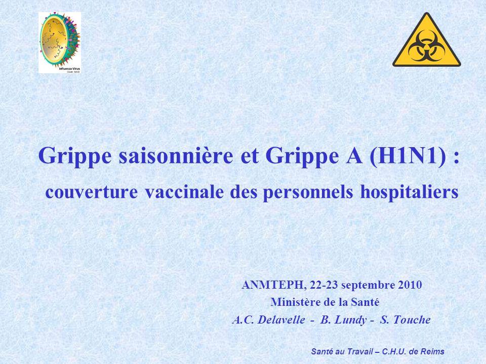 Santé au Travail – C.H.U. de Reims Grippe saisonnière et Grippe A (H1N1) : couverture vaccinale des personnels hospitaliers ANMTEPH, 22-23 septembre 2