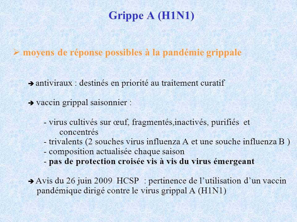 Grippe A (H1N1) moyens de réponse possibles à la pandémie grippale antiviraux : destinés en priorité au traitement curatif vaccin grippal saisonnier :