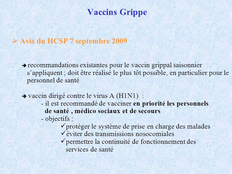 Vaccins Grippe Avis du HCSP 7 septembre 2009 recommandations existantes pour le vaccin grippal saisonnier sappliquent ; doit être réalisé le plus tôt