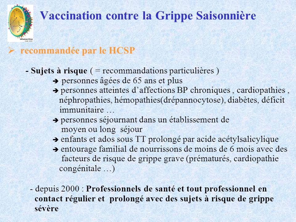 Vaccinations contre la grippe saisonnière : saison 2010-2011 Avis du HCSP ( 23 avril 2010 et 25 juin 2010) Vaccins grippaux disponibles vaccins trivalents vis à vis de la grippe saisonnière ( OMS a recommandé que la souche H1N1 pandémique soit incluse dans la composition des vaccins ) - A/California/7/2009(H1N1) like virus : souche différente de celle du vaccin grippe saisonnière 2009-2010 et proche de la souche des vaccins grippe pandémique A (H1N1) 2009 - A/Perth/16/2009 (H3N2) : nouvelle souche par rapport au vaccin de grippe saisonnière 2009-2010 - B/Brisbane/60/2008 : souche inchangée par rapport au vaccin de grippe saisonnière 2009-2010 vaccins monovalents vis à vis de la grippe A (H1N1)2009, principalement avec adjuvants
