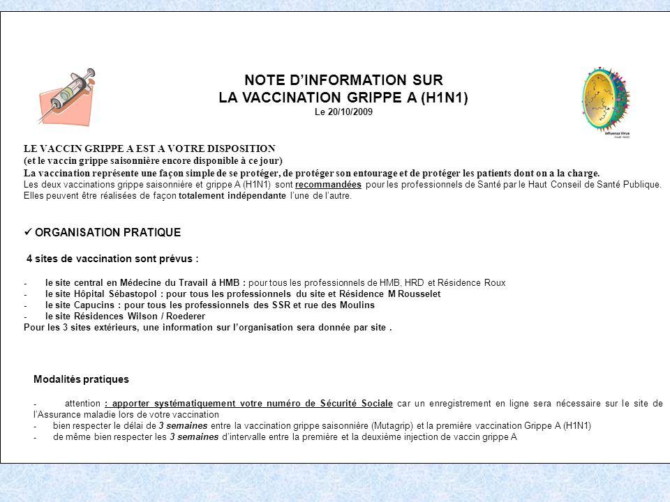 NOTE DINFORMATION SUR LA VACCINATION GRIPPE A (H1N1) Le 20/10/2009 LE VACCIN GRIPPE A EST A VOTRE DISPOSITION (et le vaccin grippe saisonnière encore