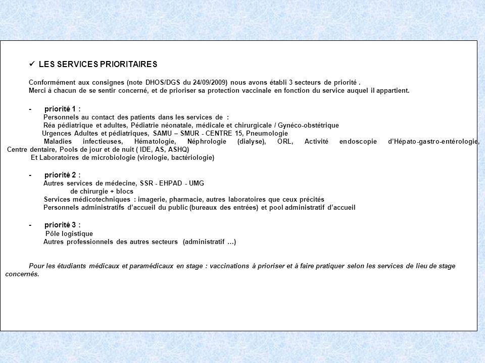 LES SERVICES PRIORITAIRES Conformément aux consignes (note DHOS/DGS du 24/09/2009) nous avons établi 3 secteurs de priorité. Merci à chacun de se sent