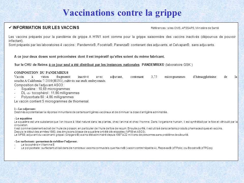 Vaccinations contre la grippe INFORMATION SUR LES VACCINS Références : sites OMS, AFSSAPS, Ministère de Santé Les vaccins préparés pour la pandémie de