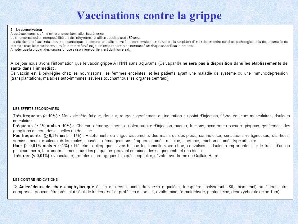 Vaccinations contre la grippe 2 – Le conservateur Ajouté aux vaccins afin déviter une contamination bactérienne. Le thiomersal est un composé libérant