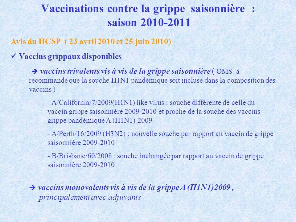 Vaccinations contre la grippe saisonnière : saison 2010-2011 Avis du HCSP ( 23 avril 2010 et 25 juin 2010) Vaccins grippaux disponibles vaccins trival