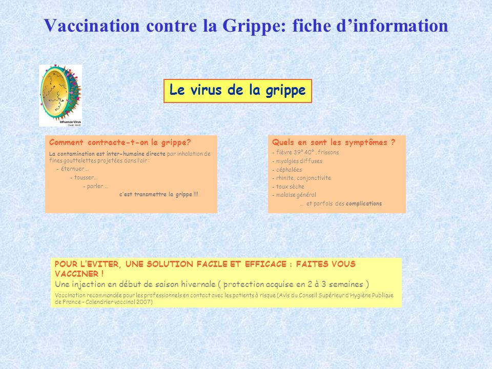 Vaccination contre la Grippe: fiche dinformation Comment contracte-t-on la grippe? La contamination est inter-humaine directe par inhalation de fines