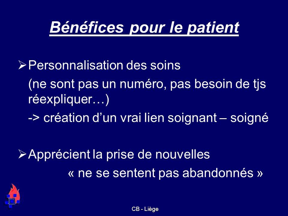 Bénéfices pour le patient Personnalisation des soins (ne sont pas un numéro, pas besoin de tjs réexpliquer…) -> création dun vrai lien soignant – soig