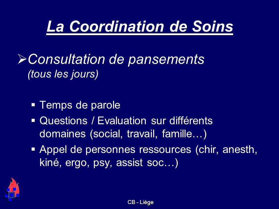 La Coordination de Soins Consultation de pansements (tous les jours) Temps de parole Questions / Evaluation sur différents domaines (social, travail,