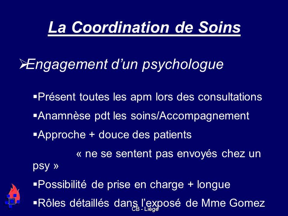 La Coordination de Soins Engagement dun psychologue Présent toutes les apm lors des consultations Anamnèse pdt les soins/Accompagnement Approche + dou