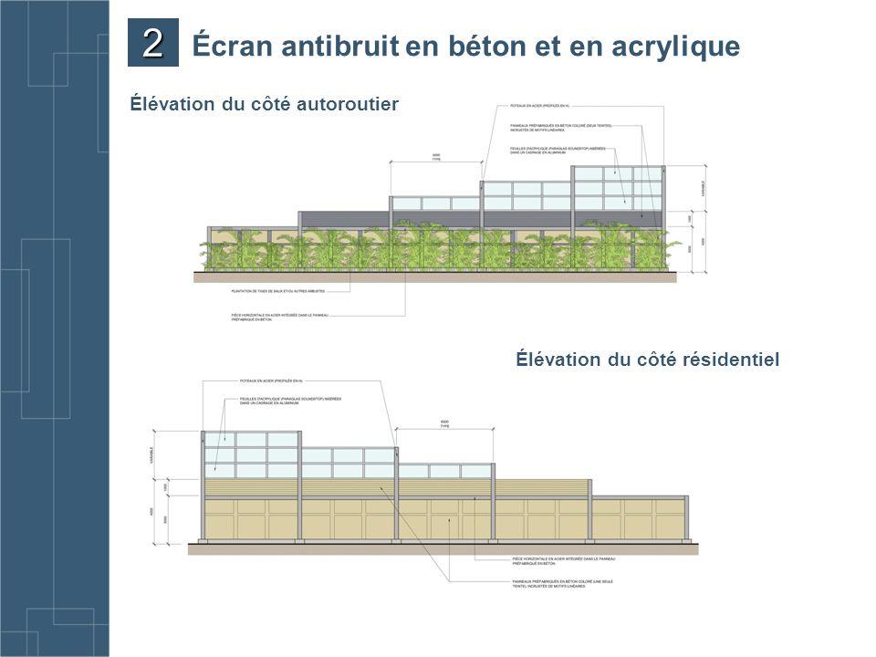 Écran antibruit en béton et en acrylique Élévation du côté résidentiel Élévation du côté autoroutier 2