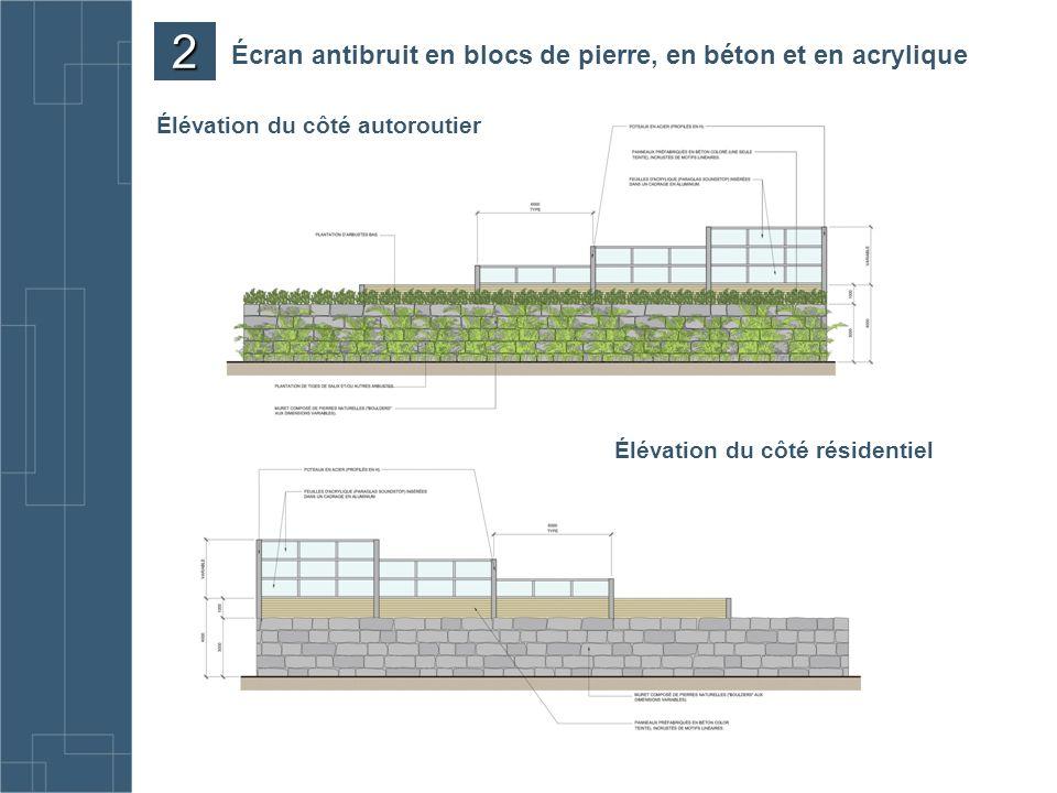 Écran antibruit en blocs de pierre, en béton et en acrylique Élévation du côté résidentiel Élévation du côté autoroutier 2