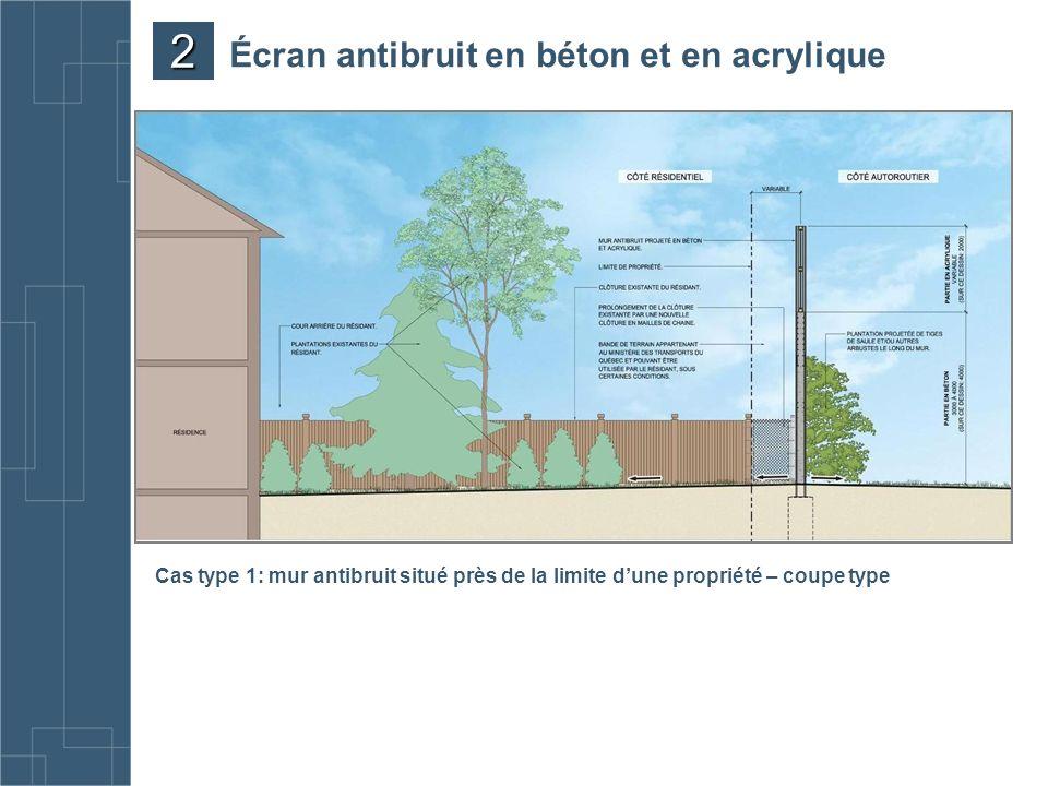 Cas type 1: mur antibruit situé près de la limite dune propriété – coupe type Écran antibruit en béton et en acrylique 2