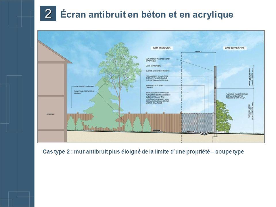 Cas type 2 : mur antibruit plus éloigné de la limite dune propriété – coupe type Écran antibruit en béton et en acrylique 2