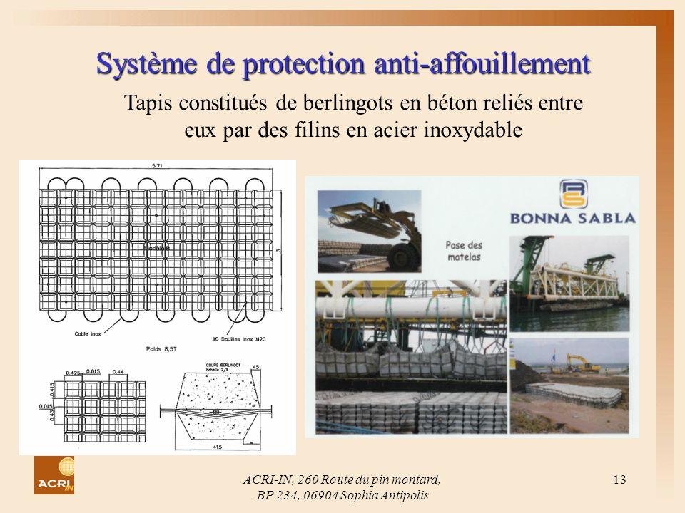 ACRI-IN, 260 Route du pin montard, BP 234, 06904 Sophia Antipolis 13 Système de protection anti-affouillement. Tapis constitués de berlingots en béton