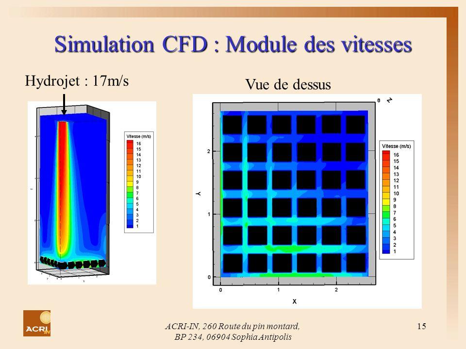 ACRI-IN, 260 Route du pin montard, BP 234, 06904 Sophia Antipolis 15 Simulation CFD : Module des vitesses Hydrojet : 17m/s Vue de dessus