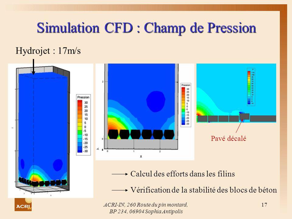 ACRI-IN, 260 Route du pin montard, BP 234, 06904 Sophia Antipolis 17 Simulation CFD : Champ de Pression Hydrojet : 17m/s Calcul des efforts dans les f
