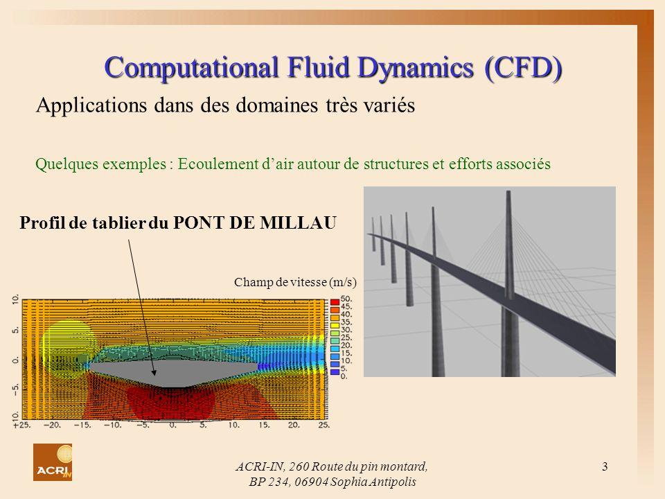 ACRI-IN, 260 Route du pin montard, BP 234, 06904 Sophia Antipolis 3 Computational Fluid Dynamics (CFD) Applications dans des domaines très variés Quel