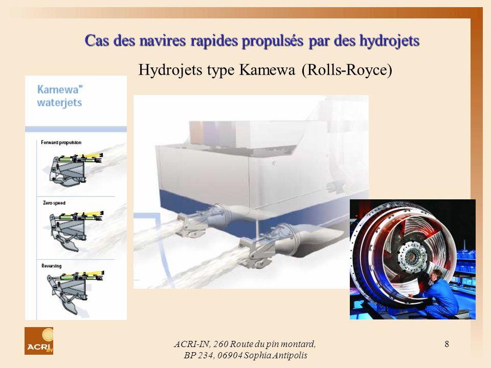 ACRI-IN, 260 Route du pin montard, BP 234, 06904 Sophia Antipolis 8 Cas des navires rapides propulsés par des hydrojets Hydrojets type Kamewa (Rolls-R