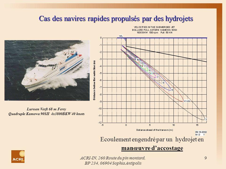 ACRI-IN, 260 Route du pin montard, BP 234, 06904 Sophia Antipolis 9 Cas des navires rapides propulsés par des hydrojets Lurssen Verft 68 m Ferry Quadr