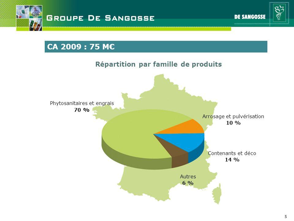 5 Phytosanitaires et engrais 70 % Arrosage et pulvérisation 10 % Contenants et déco 14 % Autres 6 % CA 2009 : 75 M Répartition par famille de produits