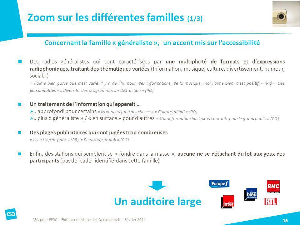 Zoom sur les différentes familles (1/3) 15 CSA pour FFRC – Fidéliser et Attirer les Occasionnels – Février 2014 Concernant la famille « généraliste »,
